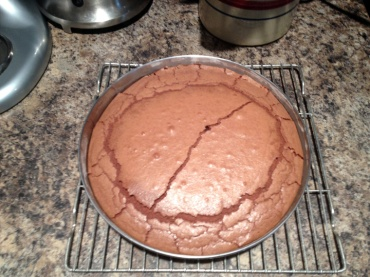 Don't be alarmed; this is really how the cake is supposed to look after you remove it from the oven.