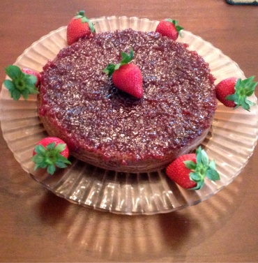 Voilà! I frosted this with strawberry jam and garnished it accordingly.