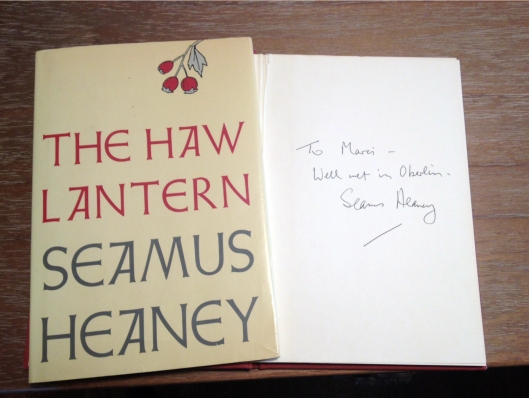 A prized possession: a first-edition copy of Nobel laureate Seamus Heaney's poetry, inscribed to me.